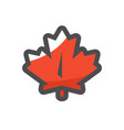 red maple leaf icon cartoon vector image vector image