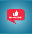 red recommended label or sign vector image