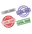 scratched textured illegal usage stamp seals vector image vector image