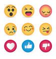 set emoticon social media reactions vector image vector image