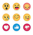 set of emoticon social media reactions vector image vector image