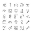 set of industrial doodle icons vector image vector image