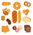 set various bakery products on white vector image