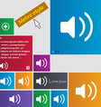 Speaker volume Sound icon sign Metro style buttons vector image