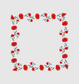 square frame of red poppies floral frame poppy vector image vector image