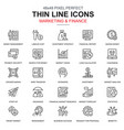 thin line marketing and finance icons set vector image vector image