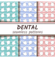three dental seamless colored patterns set vector image vector image