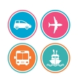 Transport icons Car Airplane Bus and Ship vector image vector image