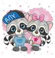 two cute raccoons on a heart background vector image
