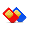 two sim card red and blue vector image