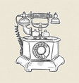 vintage telephone hand draw sketch vector image