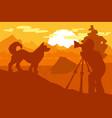 walking dog in forest mountain camp on photoshoot vector image