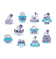 Summer holidays and vacation emblems in blue vector image