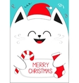 White Cat holding Merry Christmas text Candy cane vector image