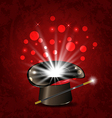 Magician hat wand and magical glow vector image