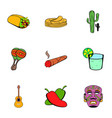 mexican icons set cartoon style vector image