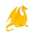 flat yellow colored dragon with wings horns vector image