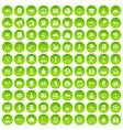 100 success icons set green circle vector image vector image