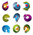 3d simple navigation pictograms collection Set of vector image vector image