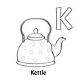 alphabet letter k coloring page kettle vector image vector image