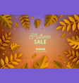 autumn sale banner in paper art style with natural vector image