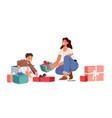 baby birthday celebration mother prepared gift vector image