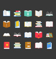 book in various icon back to school theme in flat vector image