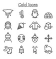 cold icon set in thin line style vector image vector image