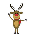 color image cartoon full body reindeer with scarf vector image