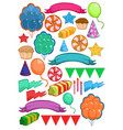 colorful birthday party elements set vector image vector image
