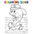coloring book dolphin theme 1 vector image