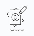 copyright flat line icon outline vector image
