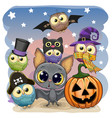 cute cartoon bat with pumpkin and five owls vector image vector image