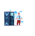 data storage cloud center with hosting servers vector image