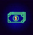 dollar banknotes neon sign vector image