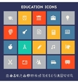 Educational icon set Multicolored square flat vector image vector image