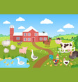 farm animals with landscape horse pig duck vector image