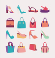 fFashion Women bags handbags and High Heels shoes vector image vector image