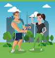 fitness people at park vector image vector image