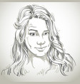 hand-drawn portrait of white-skin skeptic woman vector image vector image