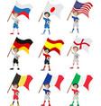 Happy soccer fan holds flag vector image