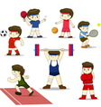 Isolated cartoon sport set vector image vector image
