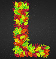 letters of autumn leaves vector image vector image
