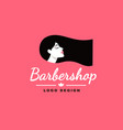 logo brunette girl barber and fashion vector image