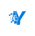 logo letter y blue blocks cubes vector image