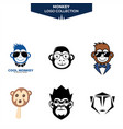 monkey logo collection vector image vector image