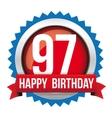 Ninety seven years happy birthday badge ribbon vector image