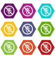 no louse sign icon set color hexahedron vector image vector image