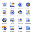 oil industry icons set in flat style vector image