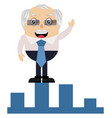 old man on stock increment on white background vector image